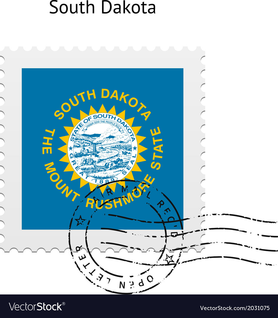 State of south dakota flag postage stamp vector | Price: 1 Credit (USD $1)