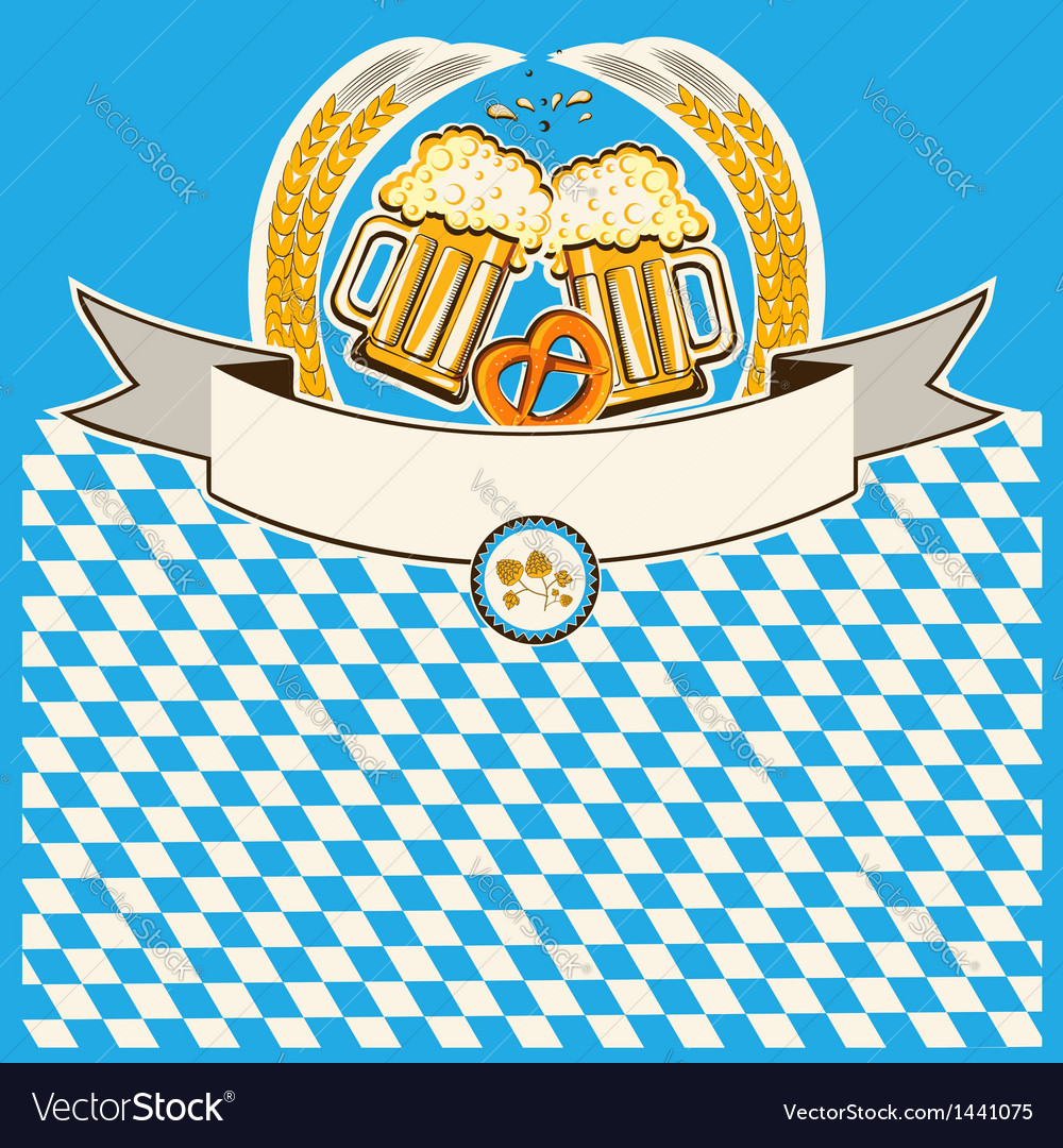Two glasses of beer on bavaria flag background vector | Price: 1 Credit (USD $1)