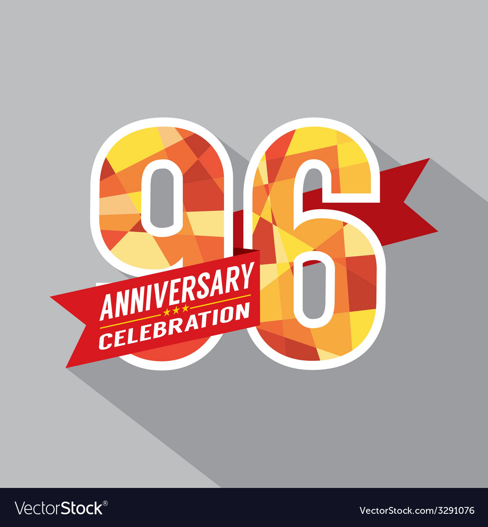 96th years anniversary celebration design vector | Price: 1 Credit (USD $1)