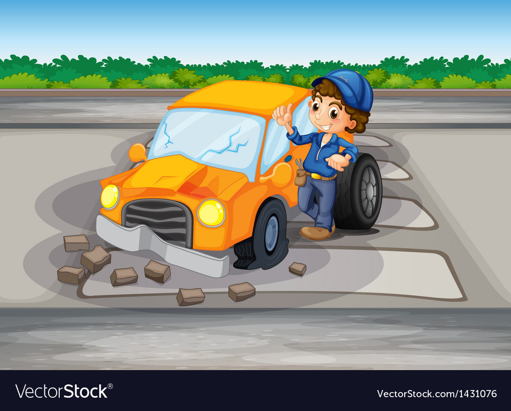 A car crash at the pedestrian lane vector | Price: 1 Credit (USD $1)