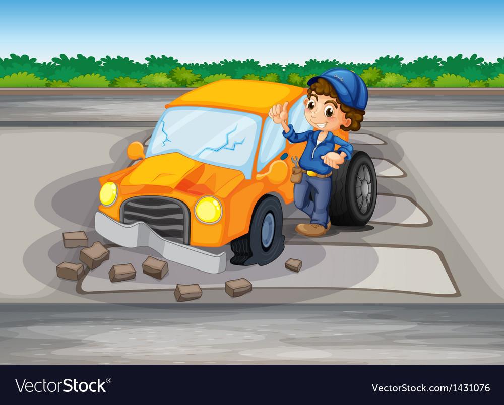 A car crash at the pedestrian lane vector | Price: 1 Credit (USD $1)