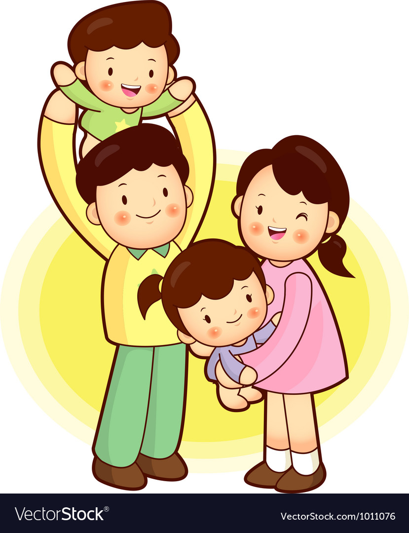 A happy family going out families character vector | Price: 3 Credit (USD $3)