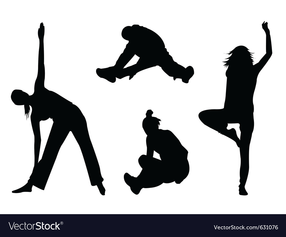 Aerobic silhouette vector | Price: 1 Credit (USD $1)