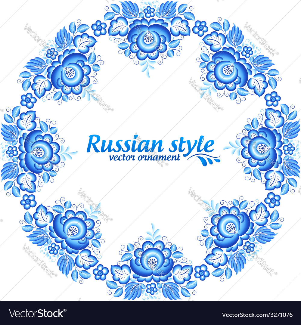Blue floral round frame in gzhel style vector | Price: 1 Credit (USD $1)