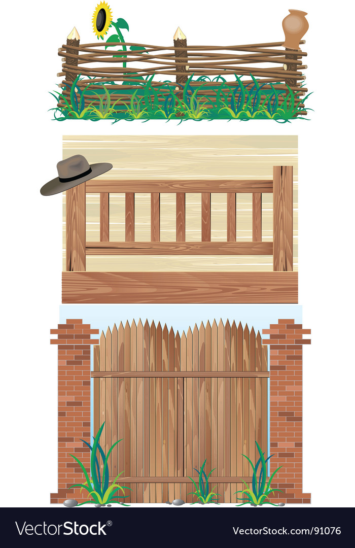 Fences brick wood and wicker vector | Price: 3 Credit (USD $3)