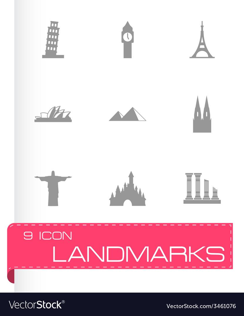 Landmarks icon set vector | Price: 1 Credit (USD $1)