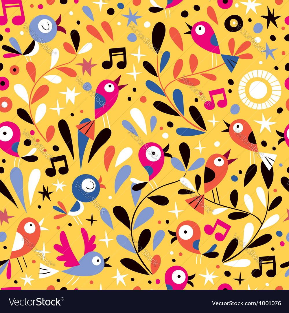 Nature pattern with cute cartoon birds vector | Price: 1 Credit (USD $1)