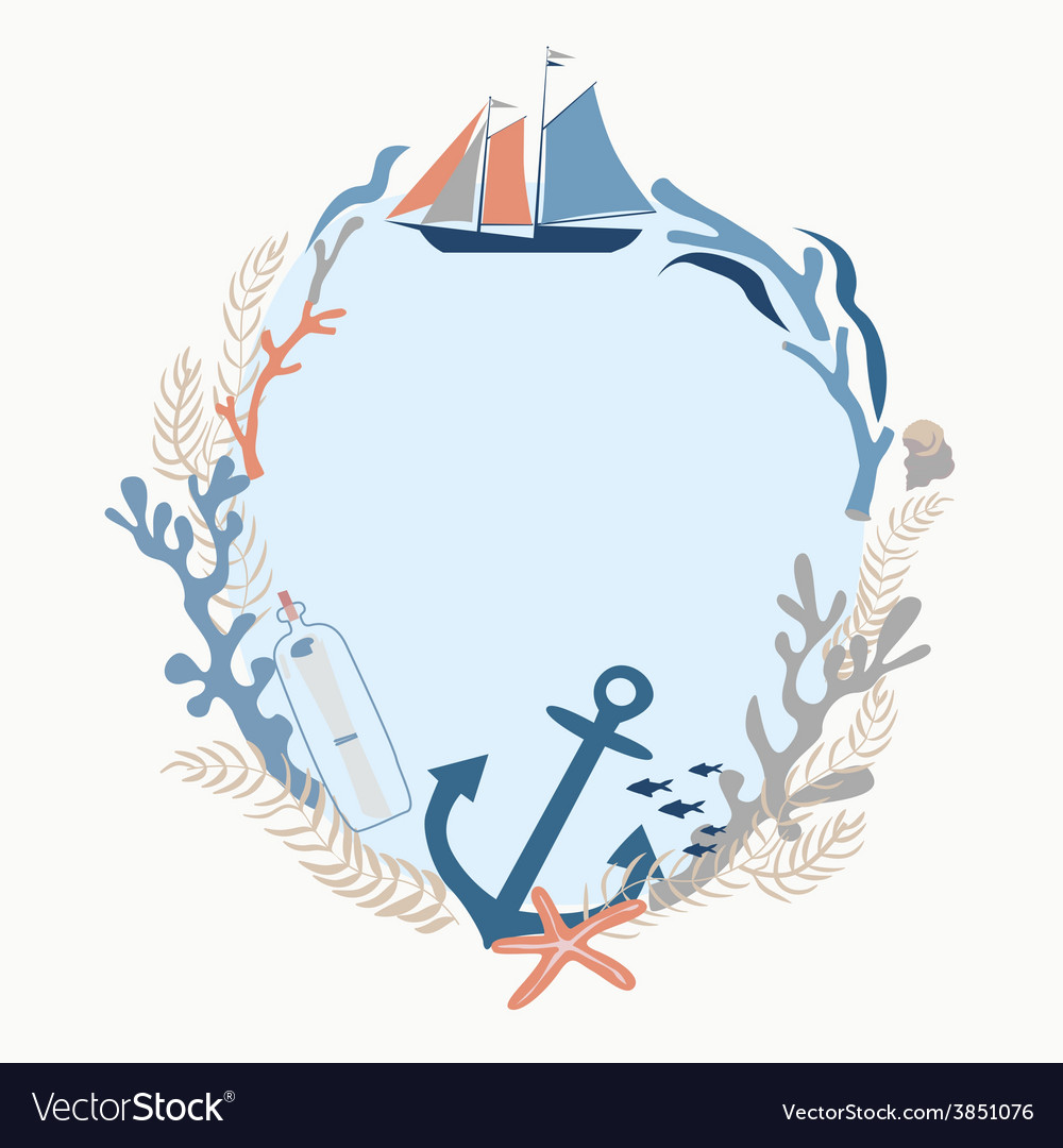 Sea voyage frame design vector | Price: 1 Credit (USD $1)