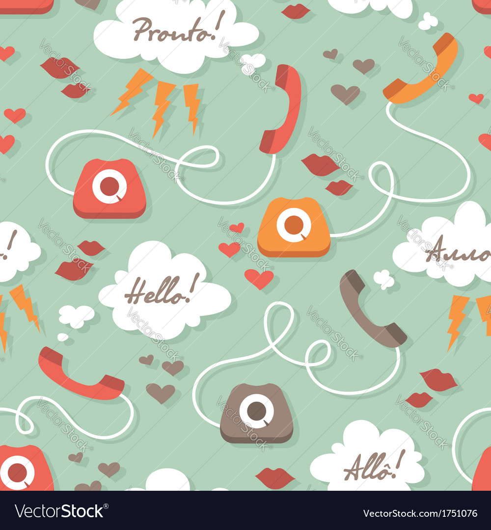 Seamless pattern with retro phones vector | Price: 1 Credit (USD $1)