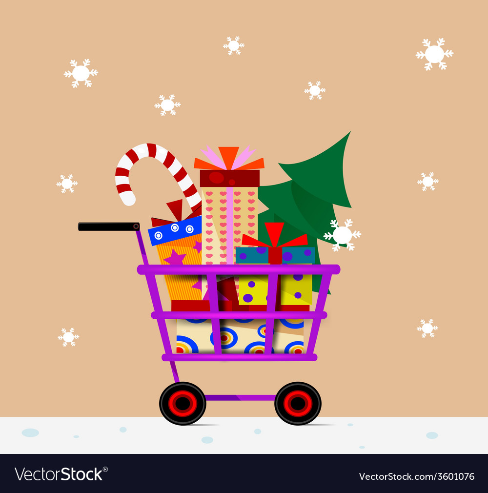 Shopping trolley full of gifts vector | Price: 1 Credit (USD $1)