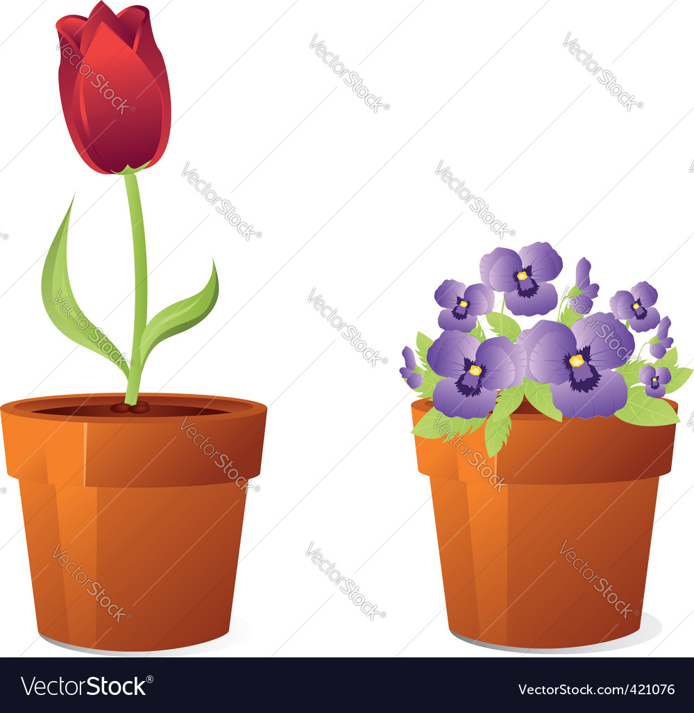 Spring flowers in pot vector | Price: 1 Credit (USD $1)