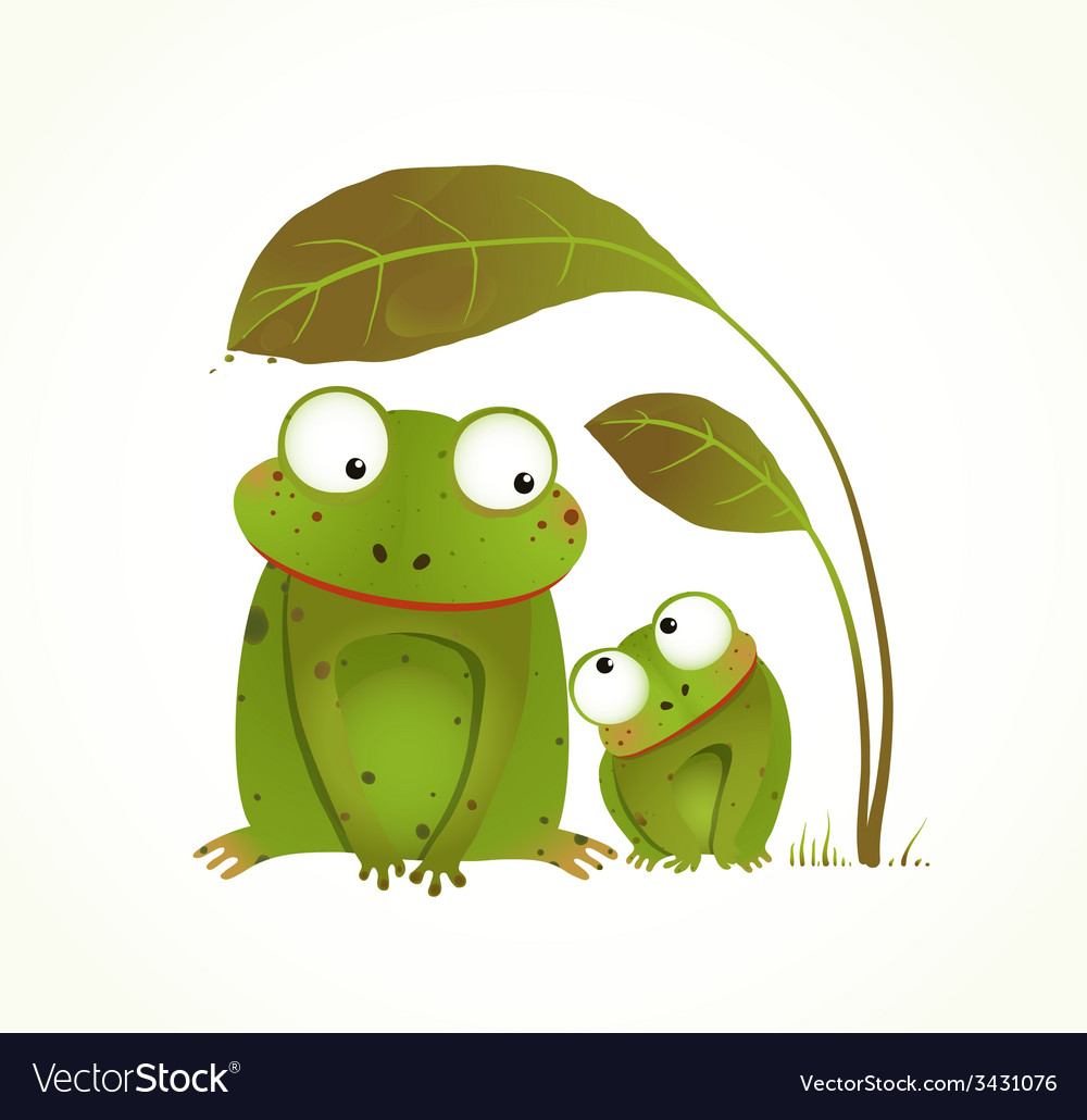 Two frogs mother and baby childish animal cartoon vector | Price: 1 Credit (USD $1)