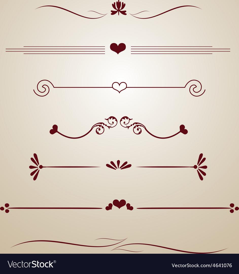 Vintage borders frames dividers heart floral card vector | Price: 1 Credit (USD $1)