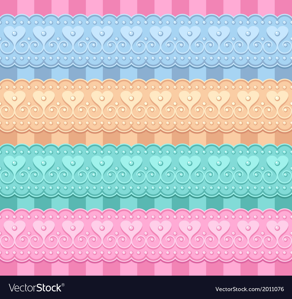 Wedding set of ribbons with hearts vector | Price: 1 Credit (USD $1)