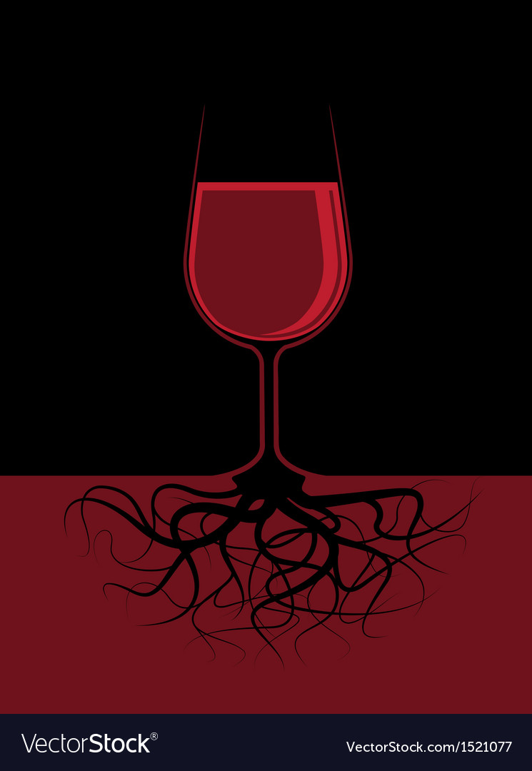 A glass of a red liquor with roots vector | Price: 1 Credit (USD $1)