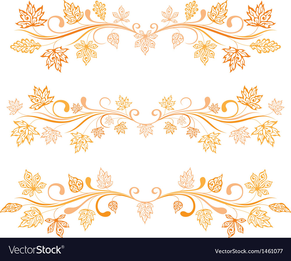 Autumn leaves borders vector | Price: 1 Credit (USD $1)