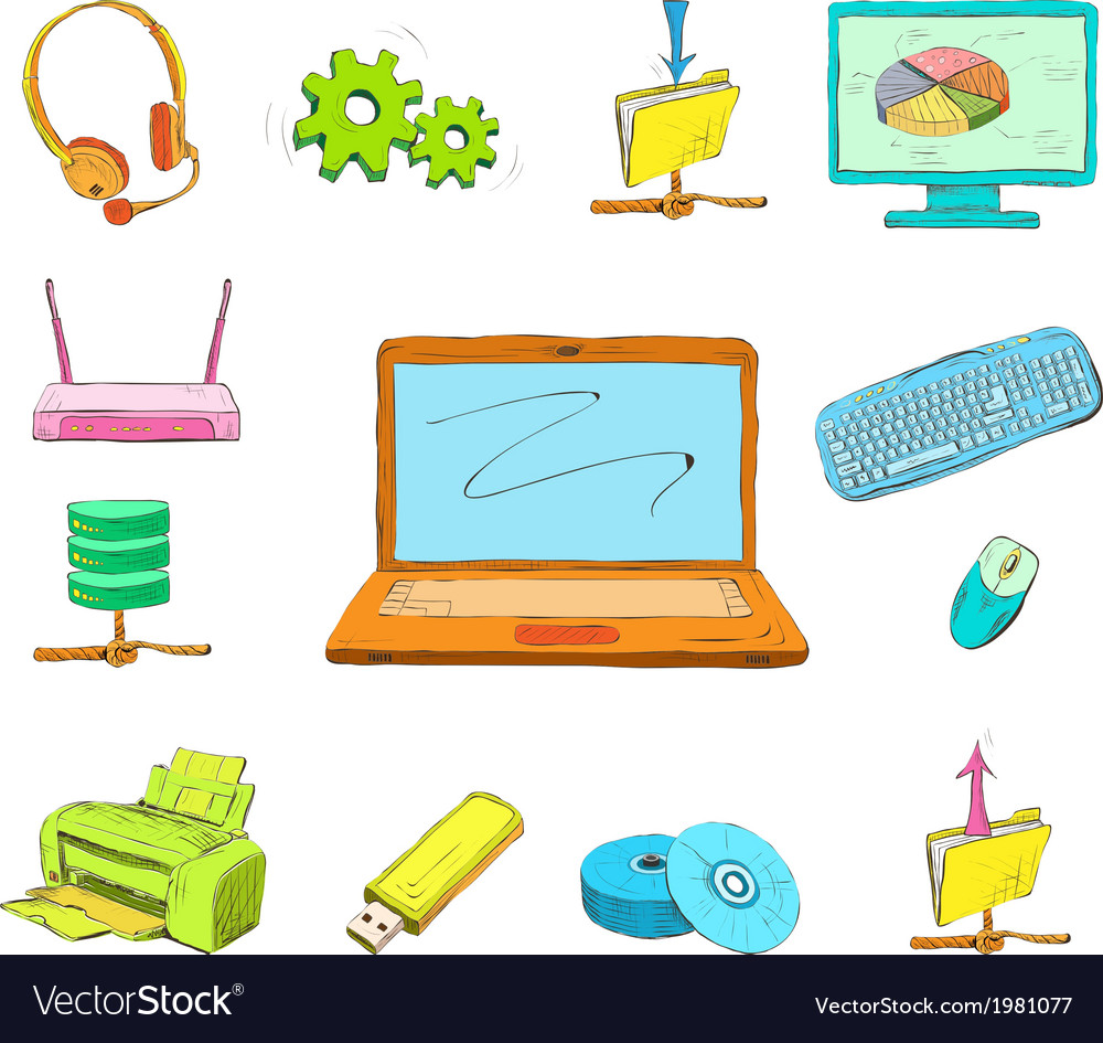 Business computer icons set vector   Price: 1 Credit (USD $1)