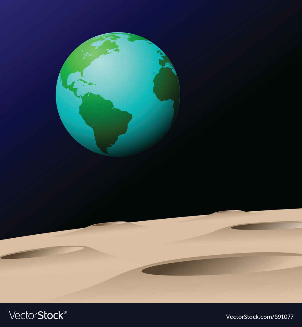 Earth from moon vector | Price: 1 Credit (USD $1)