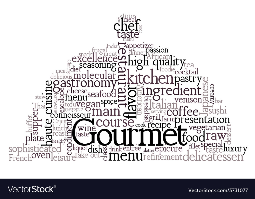 Gourmet theme word cloud vector | Price: 1 Credit (USD $1)