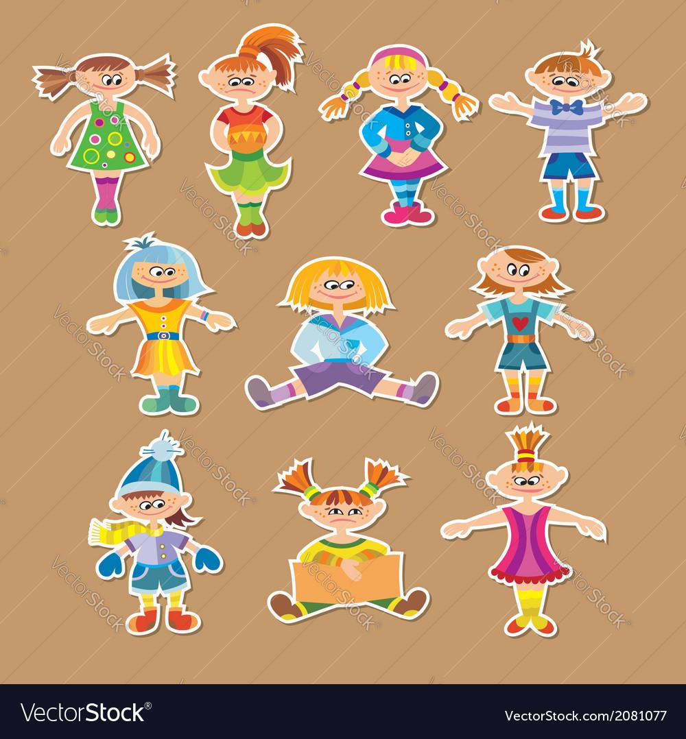 Group of cartoon kids vector | Price: 1 Credit (USD $1)