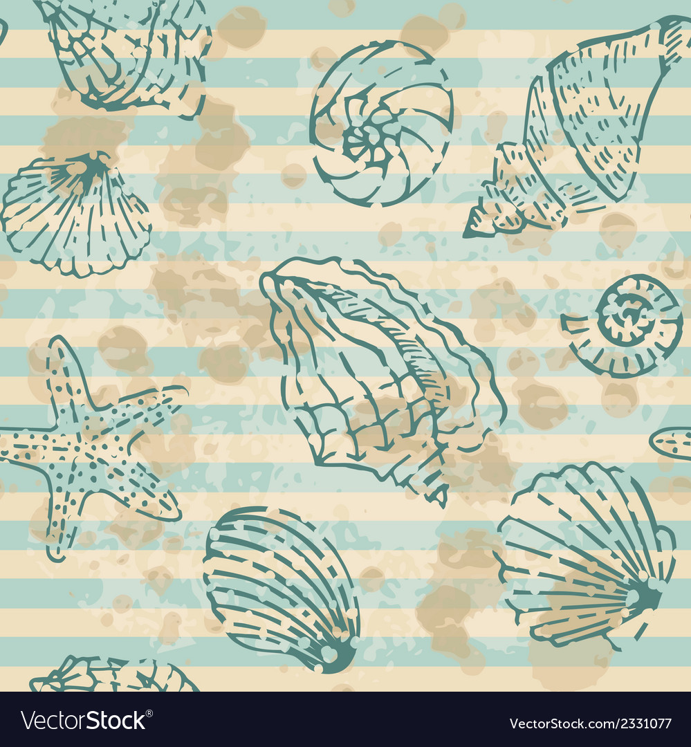 Grunge sea seamless pattern with contours shells vector | Price: 1 Credit (USD $1)