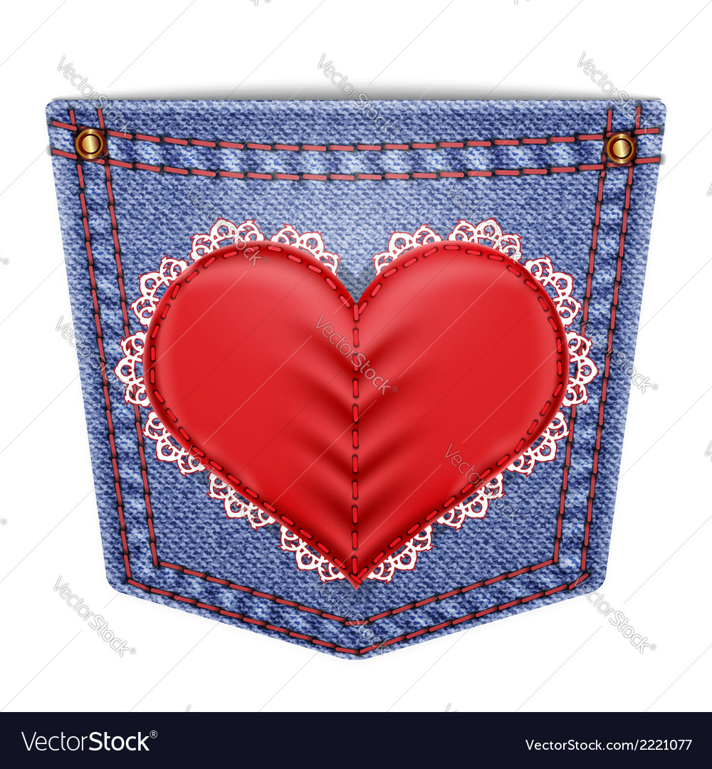 Rear pocket with sewn lace heart vector | Price: 1 Credit (USD $1)