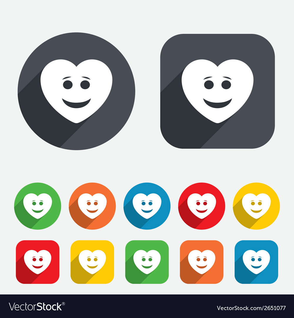 Smile heart face icon smiley symbol vector | Price: 1 Credit (USD $1)