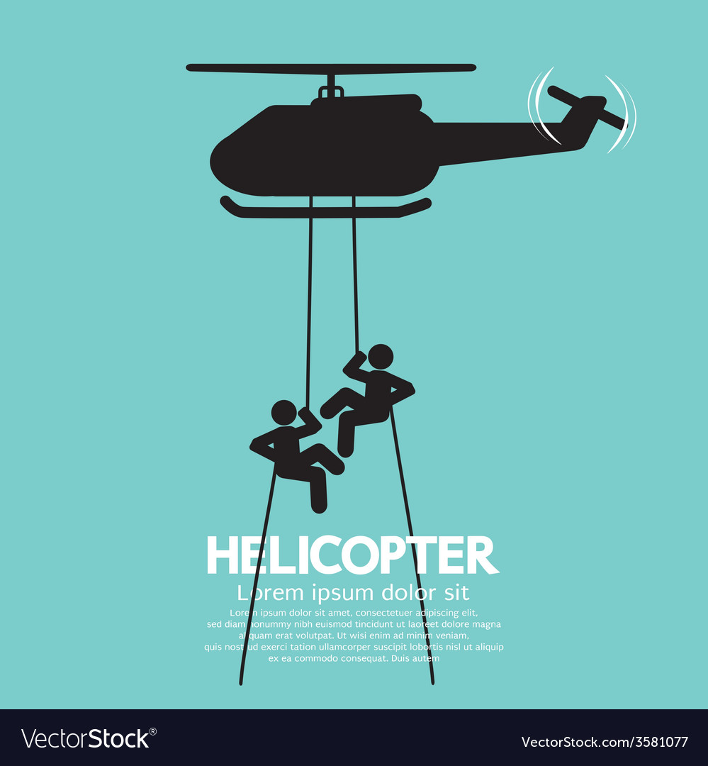 Soldiers jump from a helicopter vector