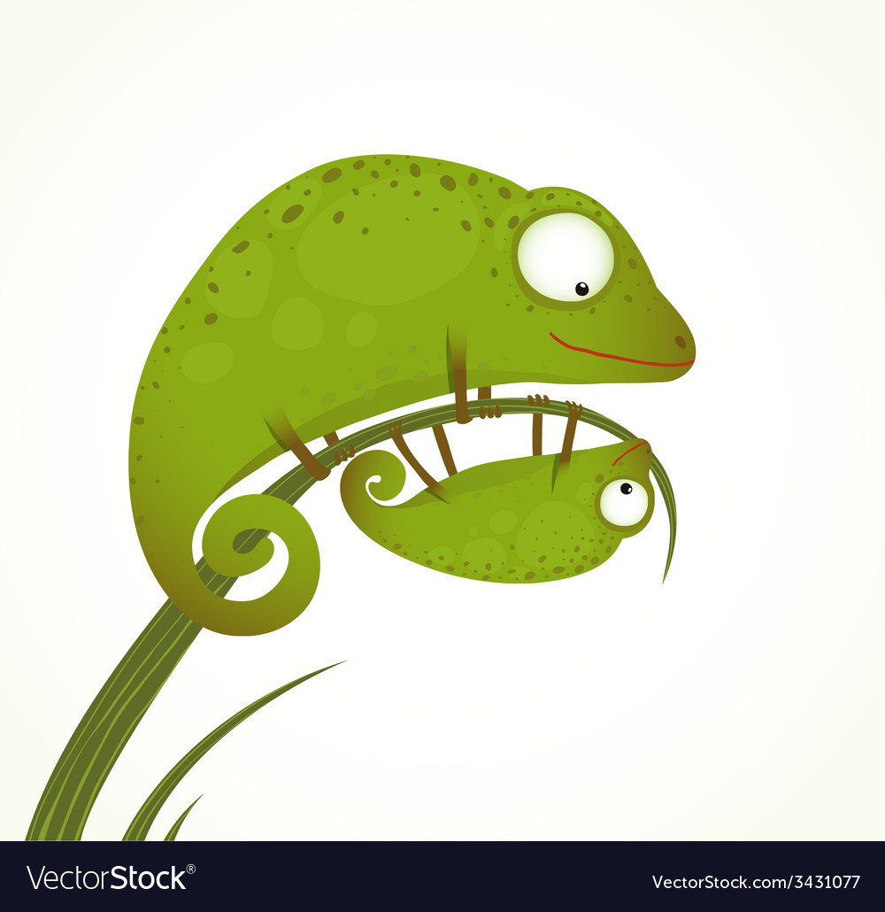 Two lizards mother and baby childish animal vector | Price: 1 Credit (USD $1)