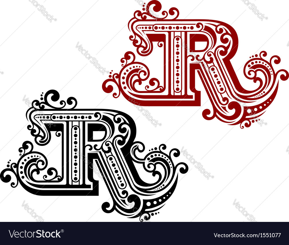 Vintage letter r vector | Price: 1 Credit (USD $1)