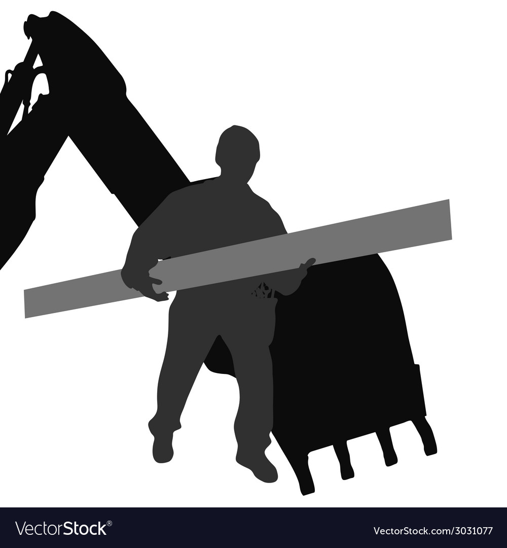 Worker carries material by machine vector | Price: 1 Credit (USD $1)