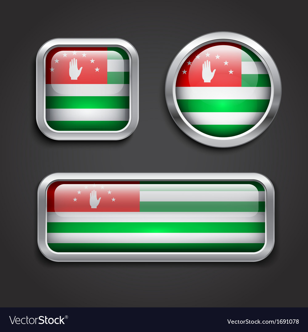 Abkhazia flag glass buttons vector | Price: 1 Credit (USD $1)