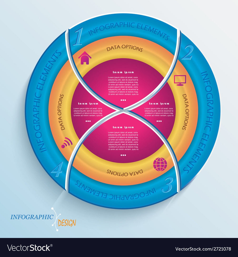 Abstract design circle infographic with four segme vector | Price: 1 Credit (USD $1)