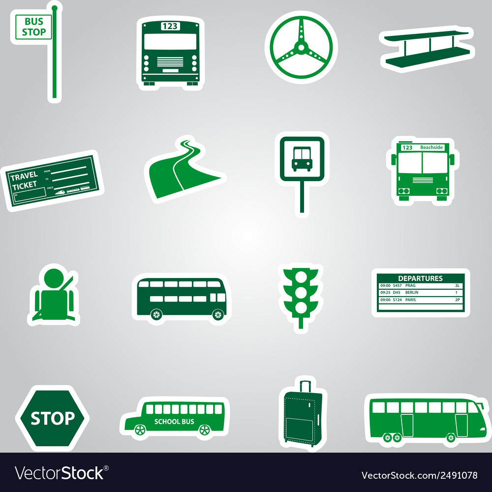 Bus transport stickers eps10 vector | Price: 1 Credit (USD $1)