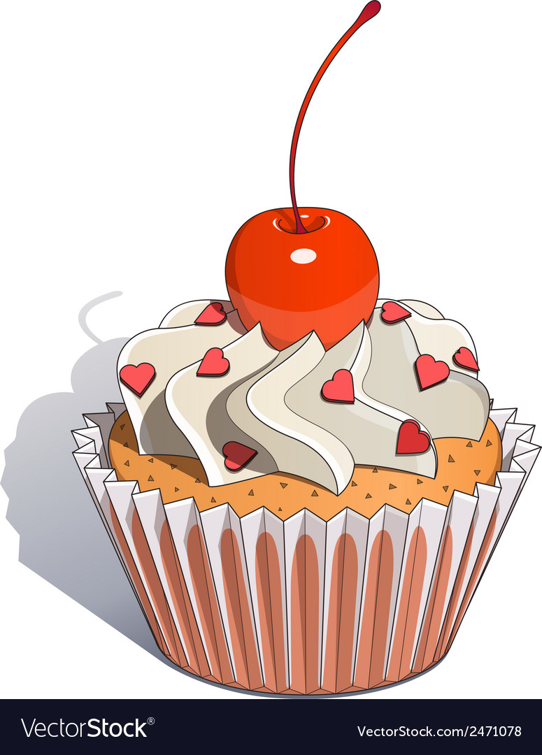 Cake with cherry vector | Price: 1 Credit (USD $1)