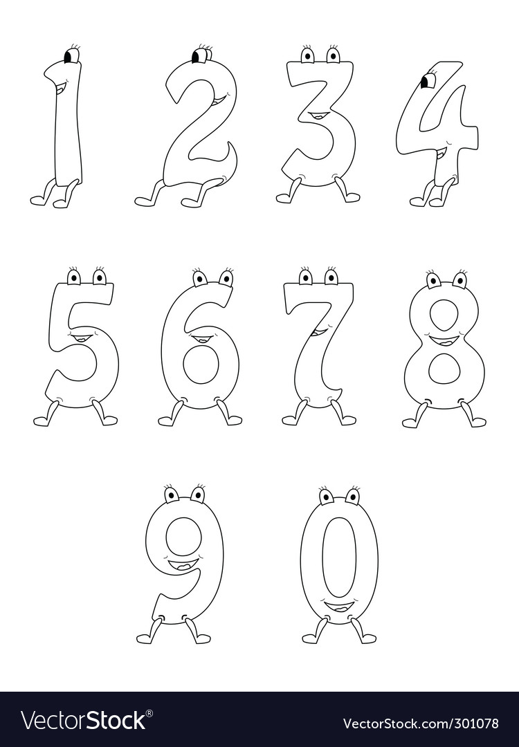 Cartoon numbers vector | Price: 1 Credit (USD $1)