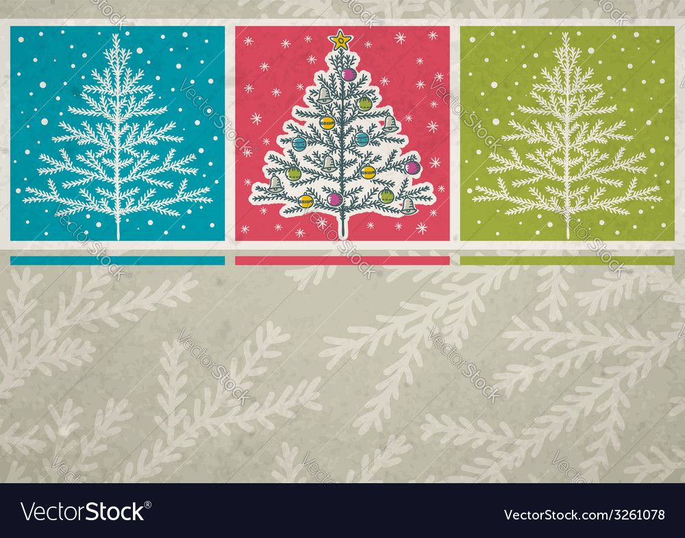 Christmas trees on color background vector | Price: 1 Credit (USD $1)