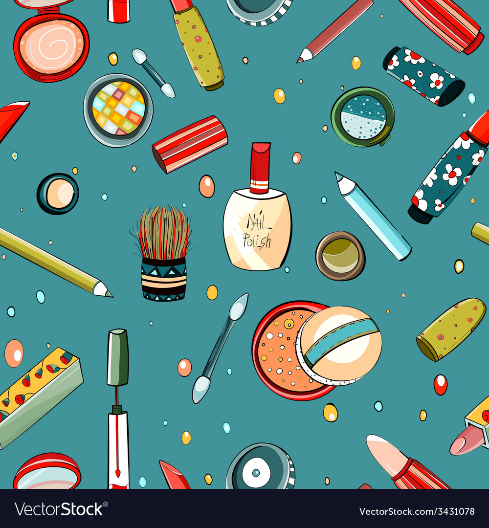 Colorful makeup seamless pattern on blue vector | Price: 1 Credit (USD $1)
