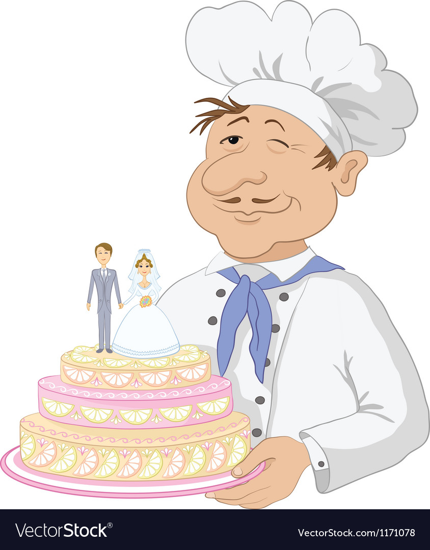 Cook with holiday wedding cake vector | Price: 3 Credit (USD $3)