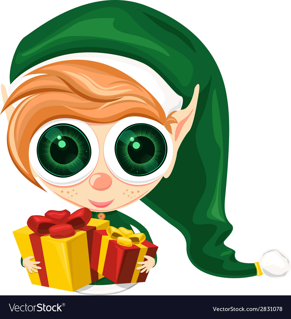 Cute elf presents vector | Price: 1 Credit (USD $1)