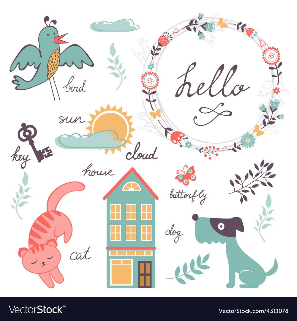 Cute preschool words collection vector   Price: 1 Credit (USD $1)