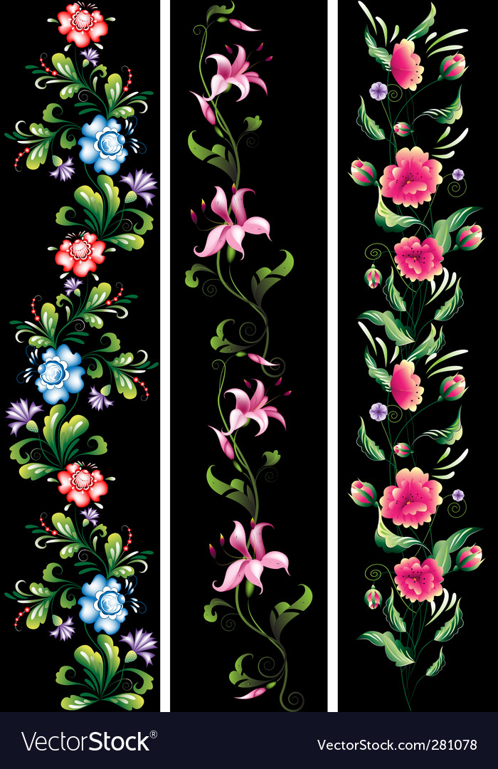 Decorative flowers in national style vector | Price: 1 Credit (USD $1)