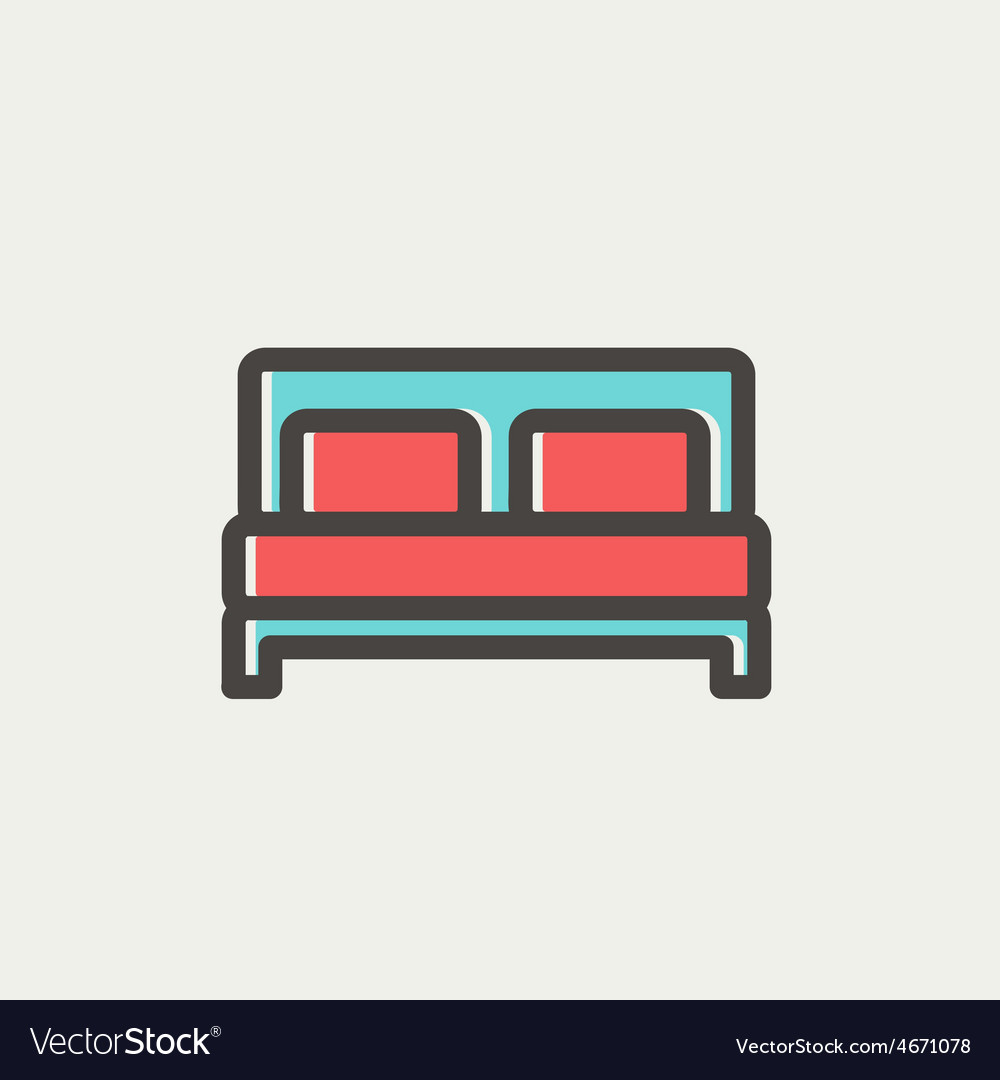 Double bed thin line icon vector | Price: 1 Credit (USD $1)