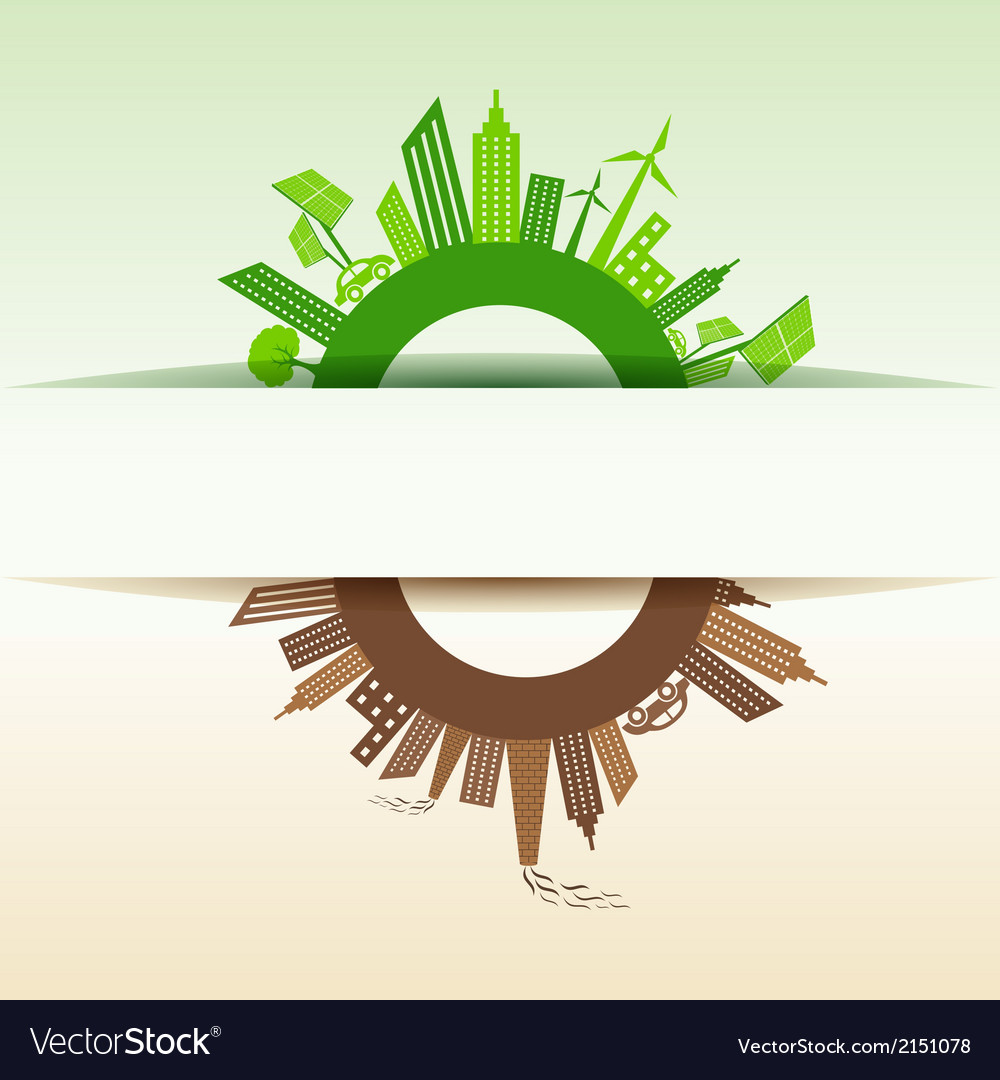 Eco and polluted city concept vector | Price: 1 Credit (USD $1)