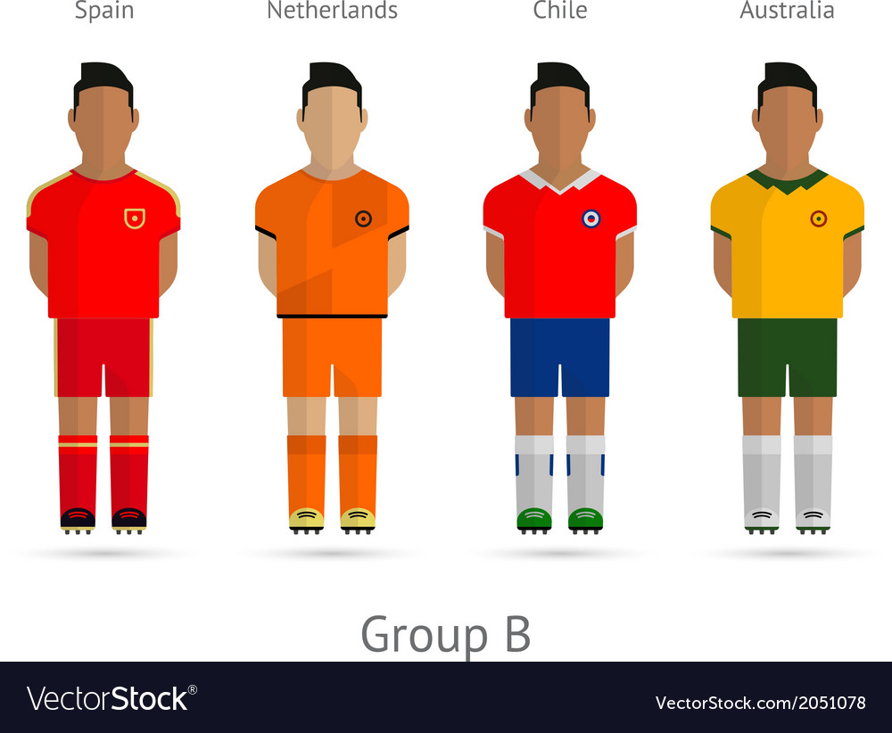 Football teams group b - spain netherlands chile vector | Price: 1 Credit (USD $1)