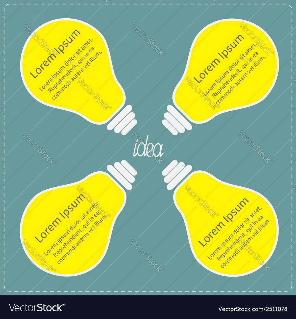 Four big yellow light bulb idea concept business vector | Price: 1 Credit (USD $1)