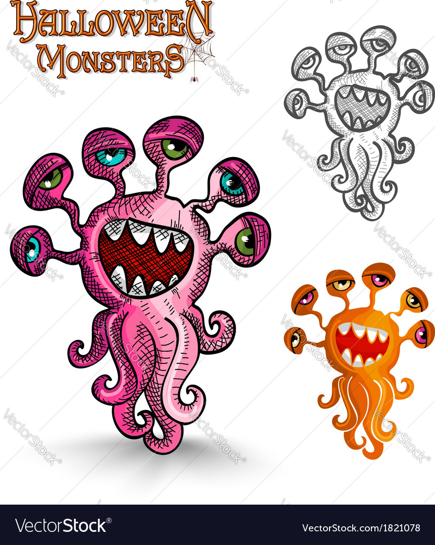 Halloween monsters weird eyes squid eps10 file vector | Price: 1 Credit (USD $1)