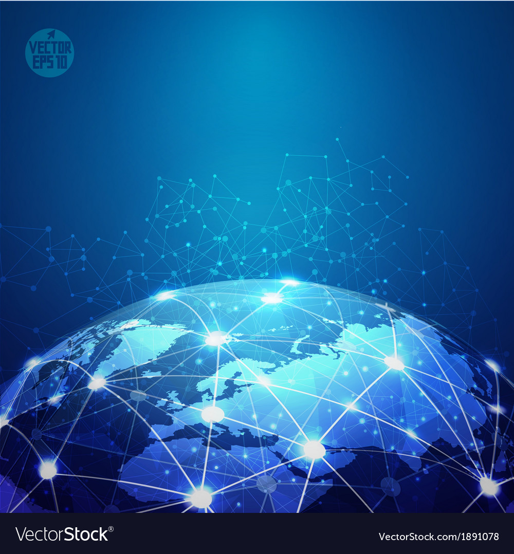 World mesh digital communication and technology vector | Price: 1 Credit (USD $1)