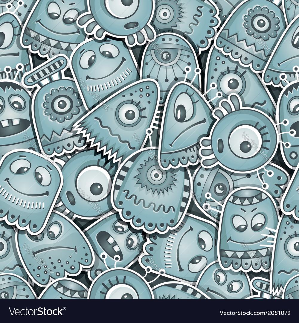 Alien and monsters seamless pattern vector | Price: 1 Credit (USD $1)