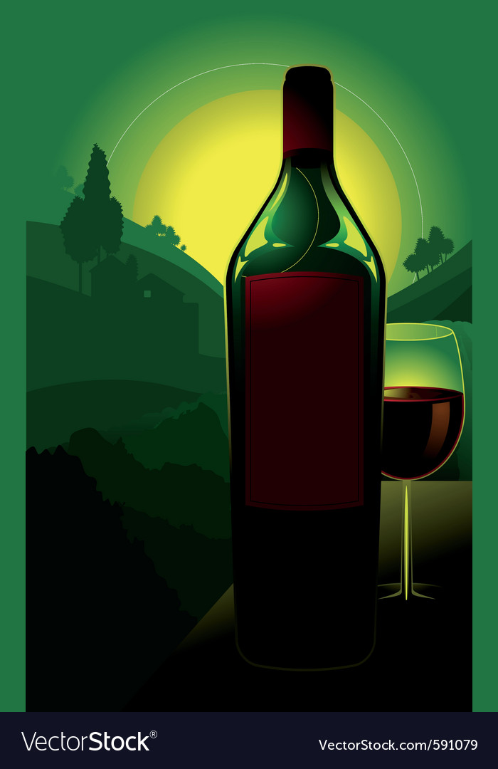 Bottle of wine in countryside vector | Price: 3 Credit (USD $3)